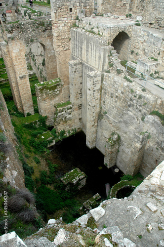 Photo Remains of the New Testament Pools of Bethesda in Jerusalem, Israel
