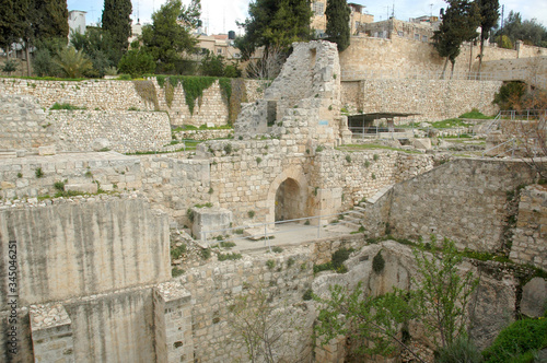 Ruins of the Byzantine Basilica built above the Pool of Bethesda in Jerusalem Canvas Print