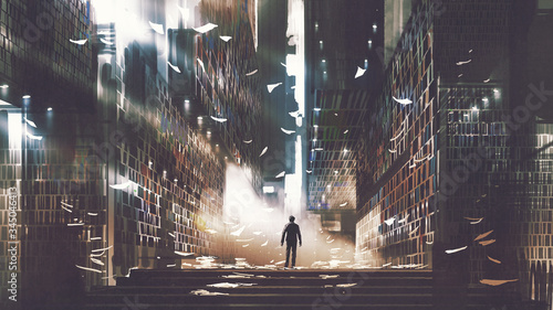 Photo man standing in a mysterious library, digital art style, illustration painting