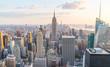 New York city skyline at sunset.