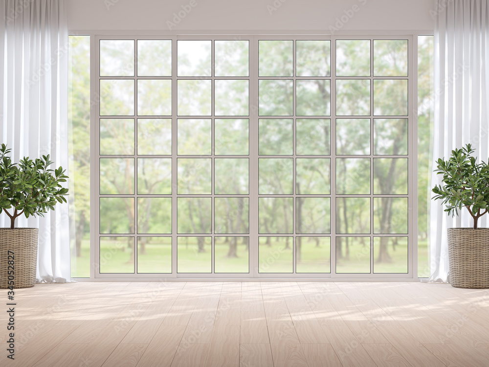 Fototapeta Empty room with blurry nature background 3d render,There light wooden floor and large window overlooking to garden view,sunlight shining into the room.