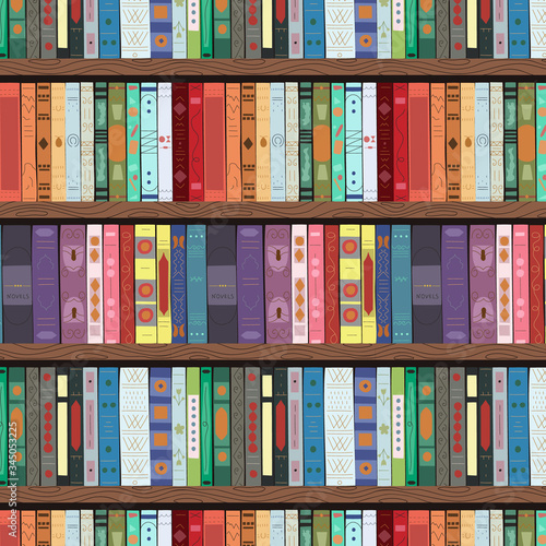 Wooden bookcase full of different books Tableau sur Toile