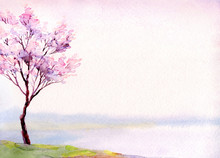 Watercolor Landscape. Flowerin...