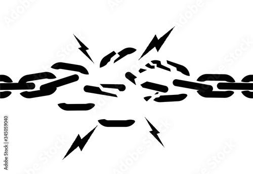 Fotomural Broken chain black silhouette isolated on white background