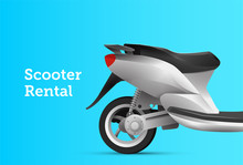 Moto Scooter Bike Rental Service Banner Design Template With Motorbike On Blue Background. Vector Illustration