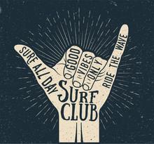 Surf Shaka Hand Gesture Silhou...