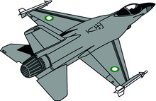 F-16 Fighting Falcon Fighter Jet Aircraft  With Two Sidewinder Missiles