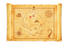 Old Pirate Treasure Map Vector...