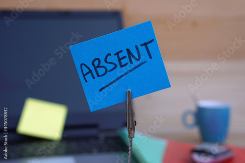 Absent written on a memo at the office Canvas Print
