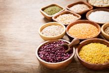 Bowls Of Legumes, Lentils, Chi...