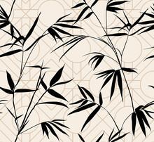 Retro Silhouette Bamboo Leaves...