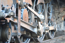 Old Steam Locomotive Wheels In...