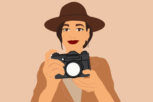 Female Traveler With A Photo Camera On The Background