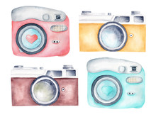 Vintage Retro Cameras Watercolor Clipart. Illustration For Photography Logo, Card, Design. Hand Painted Artwork.