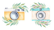 Pastel Color Watercolor Vintage Retro Cameras And Greenery Leaves. Hand Drawn Clipart Isolated On White.