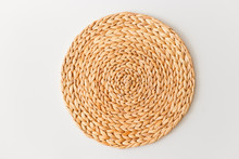Wicker Straw Stand Isolated On...