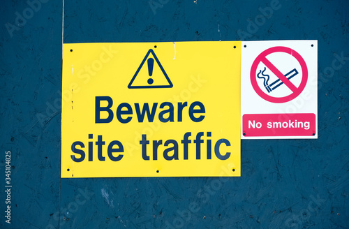 Photo Beware site traffic construction site keep out