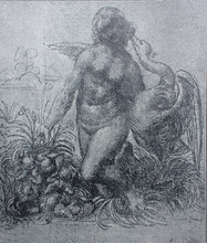 Sketch For Painting Leda And Swan By By Leonardo Da Vinci In A Vintage Book Leonard De Vinci, Author A. Rosenberg, 1898, Leipzig