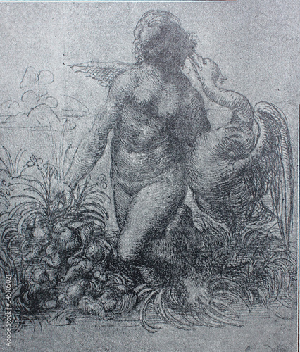 Sketch for painting Leda and Swan by by Leonardo Da Vinci in a vintage book Leonard de Vinci, author A Canvas Print