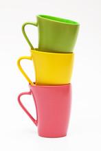 Three Color Mugs On White Back...
