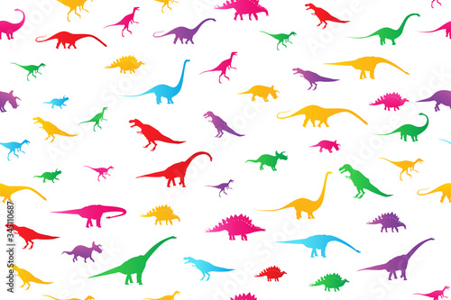 Photo Dinosaurs seamless pattern background