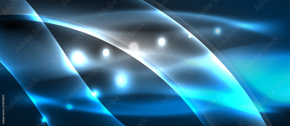 Fototapeta Abstract background. Shiny design neon waves with light effects, techno trendy design. Vector Illustration For Wallpaper, Banner, Background, Card, Book Illustration, landing page