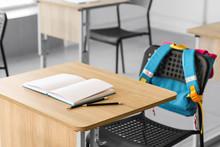 Modern Desk In School Classroom