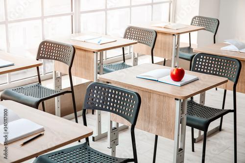 Interior of modern empty classroom