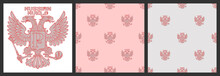 Set Of Seamless Patterns Without A Mask. Double Headed Eagle Made Of Lines With A Russian Ruble Sign Staggered