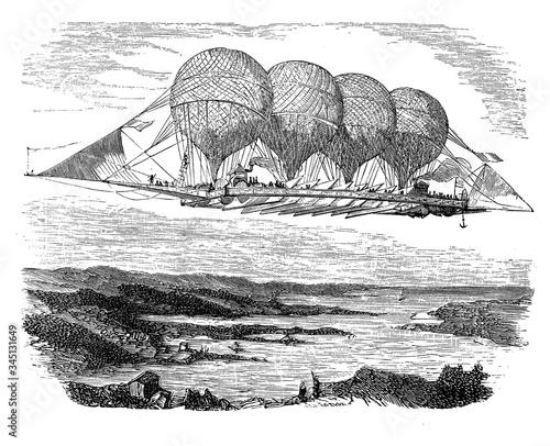 Vászonkép Monsier Petin French balloonist designed a 160-yard-long airship held aloft by f