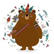 A Bear In An Indian Costume. D...