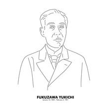 福沢諭吉(1835 - 1901) 歴史上の人物 日本 線画イラスト