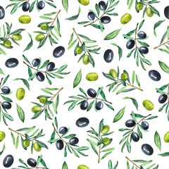 Naklejka Do kuchni Seamless pattern with fresh green and dark olive branches on white background. Hand drawn watercolor illustration.