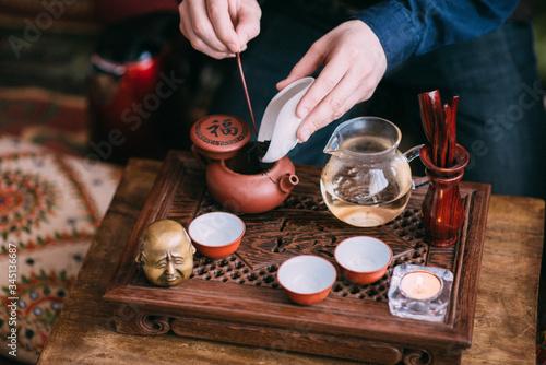 Canvastavla Traditional chinese oolong tea ceremony process closeup