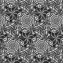 Hexagonal Pattern Flower Vortex Black White Floral
