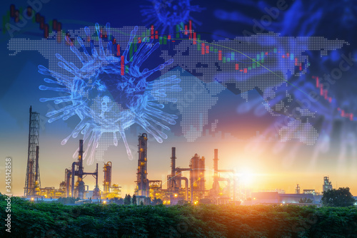 Coronavirus Impact Influence Oil and Gas Industry, Covid 19 Disease Epidemic Effect to Oil Refinery Industrial and Stock Exchange Canvas Print