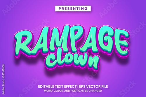 Fotografie, Tablou Rampage clown cartoon game logo style editable text effect