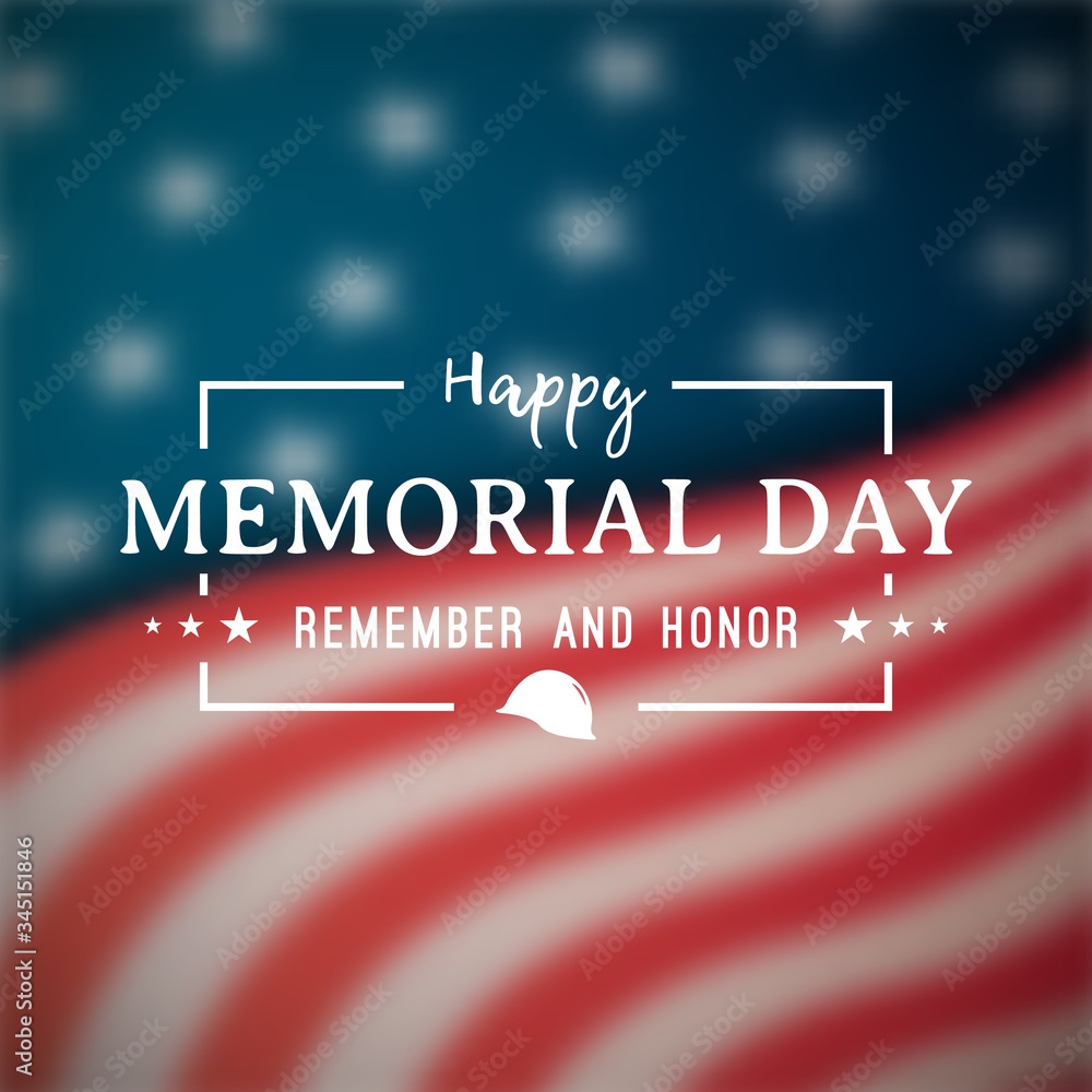 Fototapeta Happy Memorial Day banner. National american holiday. Blurry american flag. Vector background.