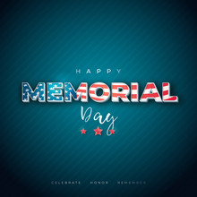 Happy Memorial Day Banner. National American Holiday. Traditional Design With Text And Flag. Stock Vector Illustration.