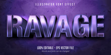 Ravage Text, 3d Purple Metallic Style Editable Font Effect