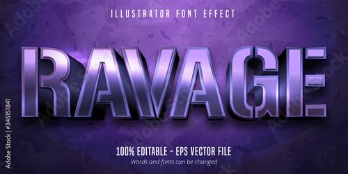 Ravage text, 3d purple metallic style editable font effect Fototapet