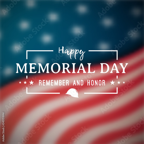 Happy Memorial Day banner. National american holiday. Blurry american flag. Vector background. - 345151846