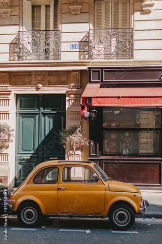 yellow car paris street Wallpaper Mural