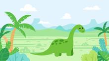 Cute Diplodocus Dinosaur In Pr...