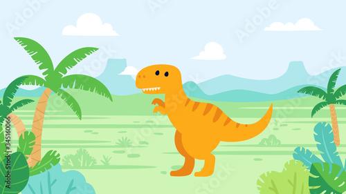 Cute tyrannosaurus rex dinosaur in prehistoric landscape Tablou Canvas