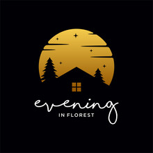 Home With Sunset  In Forest Cr...