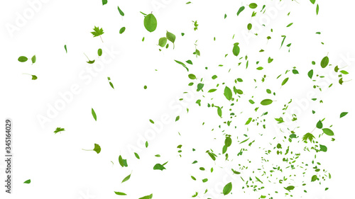 Obraz Green Flying leaves leaf 3D illustration background. - fototapety do salonu