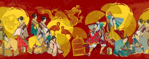 Fotografia Japanese horizontal seamless pattern