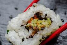 Close Up Of Vegetable Medley California Roll, Traditional Japanese Food