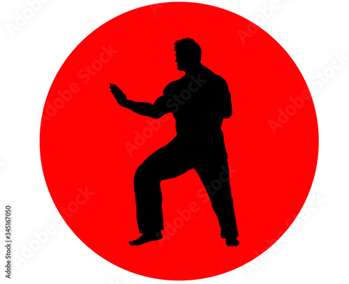 Illustration of a man in martial art attire against red sun/dot background Canvas Print